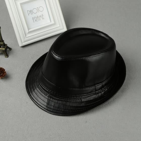 336b0c69dd5 Unisex Women Men Fedora Hat PU Leather Formal Vintage Jazz Hat Bucket Cap  Black