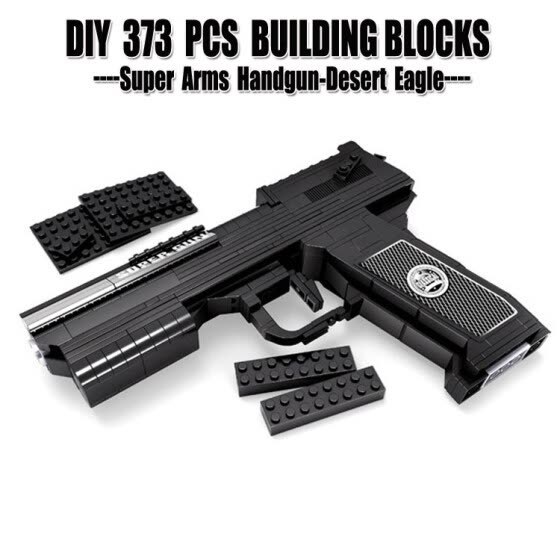 Early Educational Enlighten DIY 373PCS Handgun Plastic Building Blocks Gun Army Bricks Toys Weapon Compatible With Lego For Kids