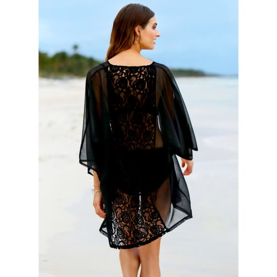 ec38e61379324 New Women Kimono Cardigan Beach Cover Up Sheer Lace Chiffon Loose Casual Blouse  Top Beachwear Black