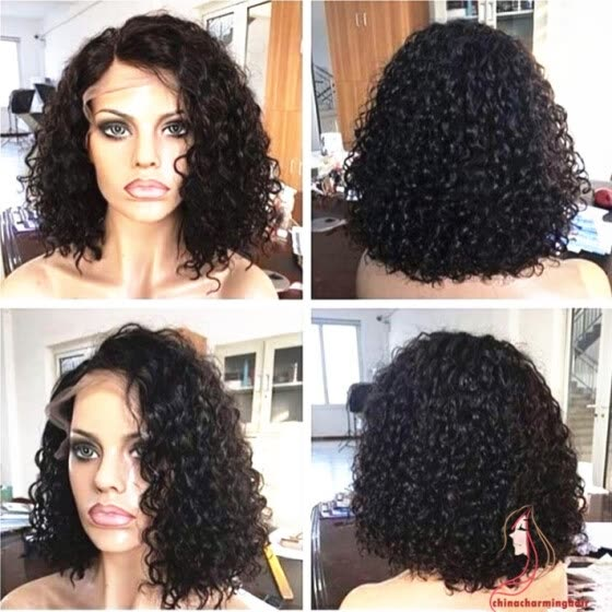 Human Hair Brazilian Lace Wig loose Curly Water Wave Bob Haircut Glueless Full Lace With Baby Hair Side Part Natural Hairline 130%