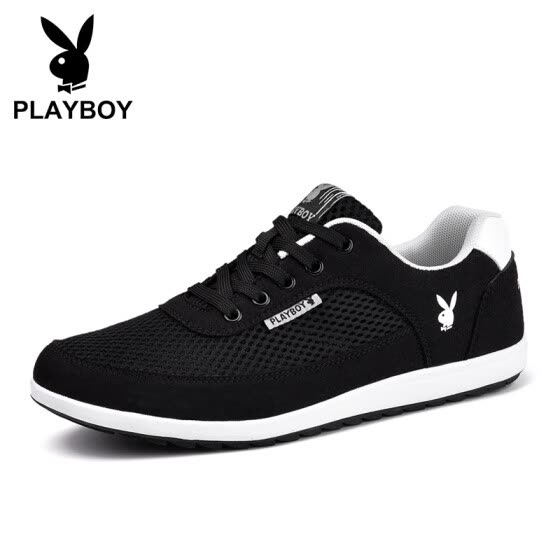 Playboy (PLAYBOY) Men's Korean Fashion Joker Low Help Light Slip Sports Casual Shoes Male DA73088 Mesh - Black 41