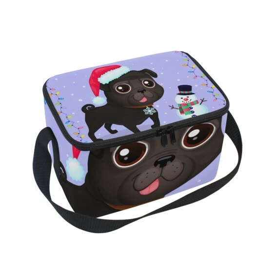 ALAZA Lunch Box Insulated Lunch Bag Large Cooler Christmas Dog In Frame Of Garlands Tote Bag