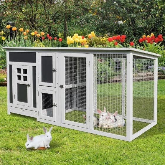 32 Wood Large Indoor Outdoor Rabbit Hutch With Run Grey And White