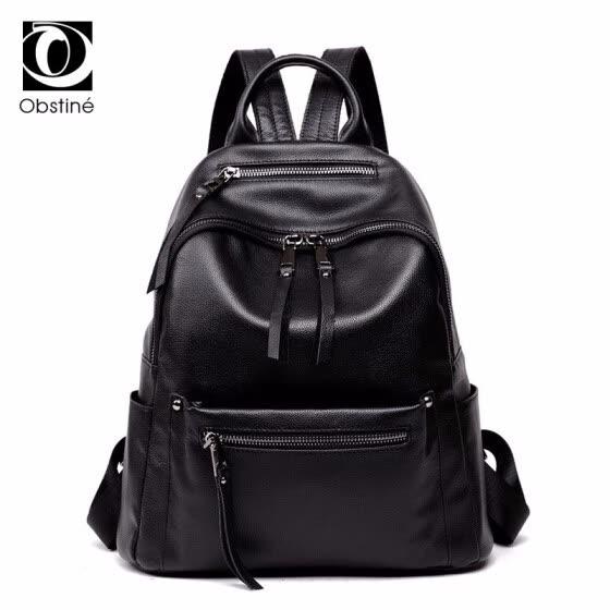 26319ac98976 Реальные кожаные рюкзаки Корова для женщин Рюкзак для женщин с  застежкой-молнией Черные женские сумки