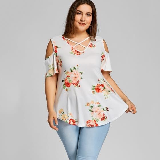 86514e20ee5 PREISEI Summer Women Sweet Casual Print Plus Size T-Shirt V-Neck Short  Sleeve