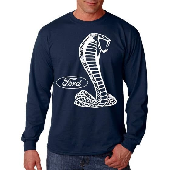 Ford Shelby Cobra Logo Men's Long sleeve Tee Mustang Men's Shirt