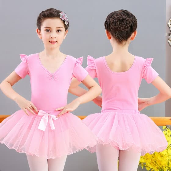 Chic children's dance costume girls spring and summer children's exercise clothes costumes suits one-piece clothes ballet skirt short sleeve pink 4XL