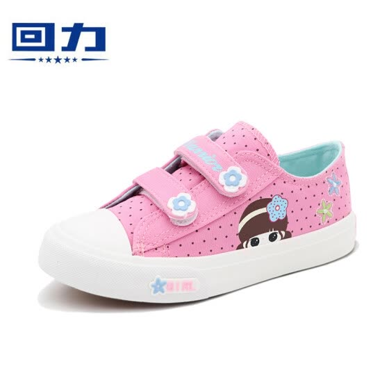Warrior children's shoes Velcro girls cartoon avatar casual shoes sports shoes canvas shoes WZ19-161 pink 30