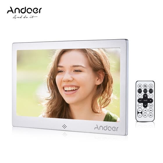 "Andoer 10"" LED Digital Photo Frame 720P Video/Music/Calendar/Clock/TXT Player 1024 * 600 Resolution Metal Frame with Remote Contro"