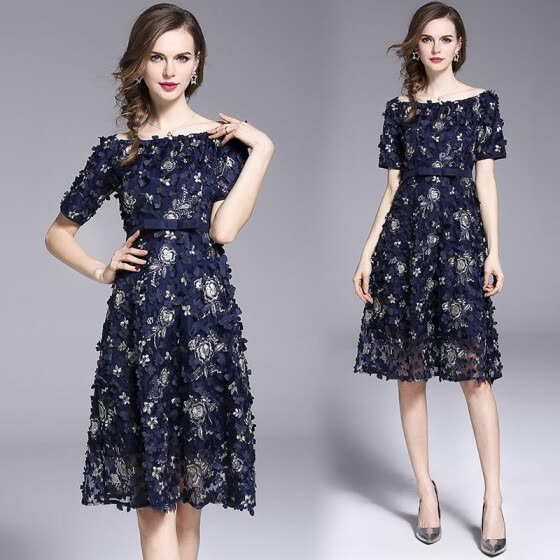 S M L XL elegant new summer 2019 midi dress women short sleeve blue flower beach off shoulder lady