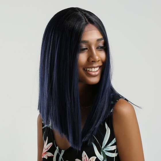 "Element Straight Synthetic Hair Lace Front 13*4 T Part Bob Wig 14"" Wigs for Black Women 6 Colors Ombre Hair Choice Cosplay Wig"