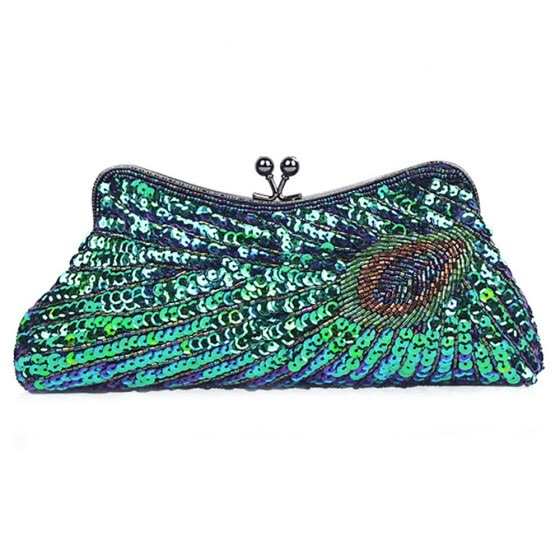 Elegant Ladies Handbags for wedding Women Purse Clutch Bag Women Beaded Sequin Peacock Evening Bag for Party