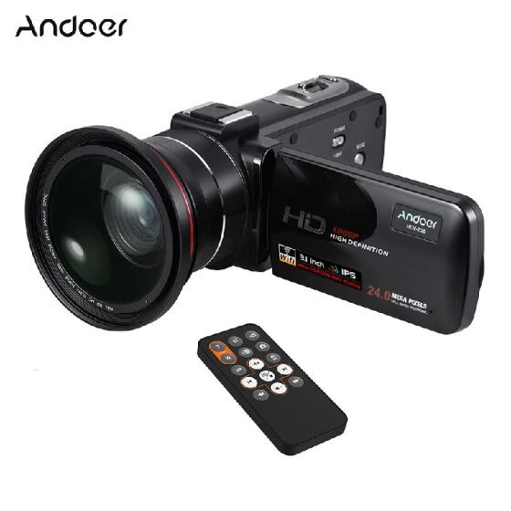 "Andoer HDV-Z20 1080P Full HD 24MP WiFi Digital Video Camera Camcorder with 0.39X Wide Angle + Macro Lens 3.1"" Rotatable IPS Touchs"