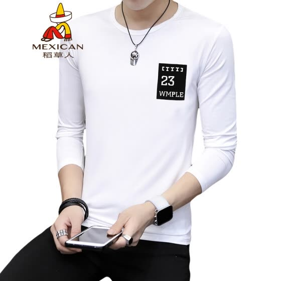 Scarecrow (MEXICAN) long-sleeved T-shirt male Korean version of the self-cultivation 2019 spring new fashion round neck print wild comfortable trend bottoming shirt t-shirt shirt men's white 4XL