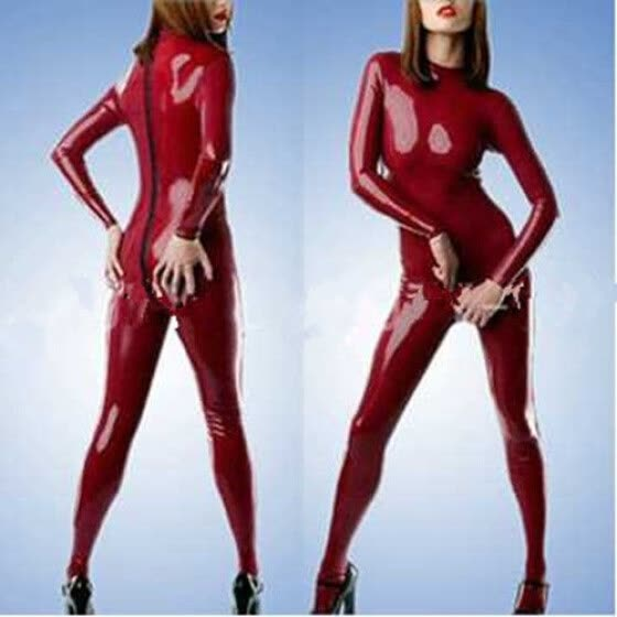 100% Rubber Latex Sports Catsuit Cover all Zipper Red Bodysuit S-XXL
