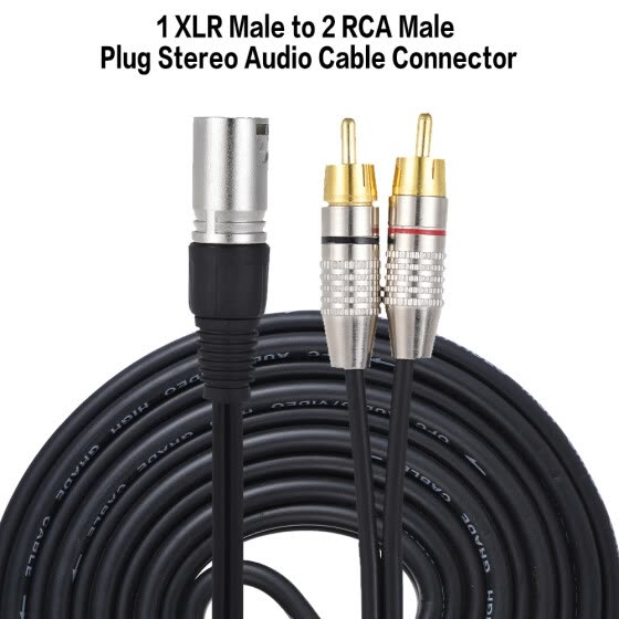 1 XLR Male to 2 RCA Male Plug Stereo Audio Cable Connector Y Splitter Wire Cord (5 meters / 16.4ft) for Microphone Mixing Console