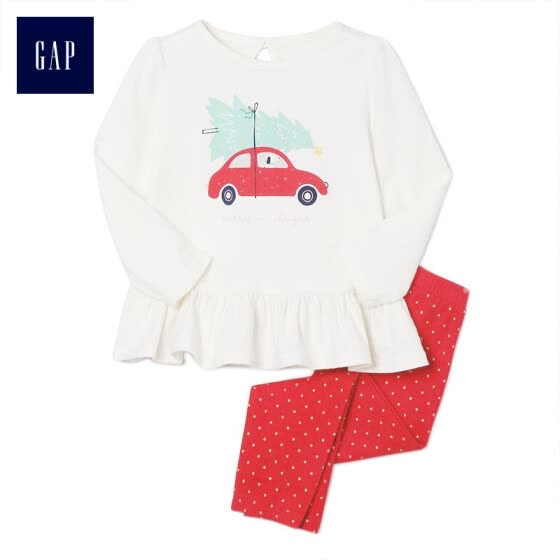 67098df6309684 GAP flagship store baby girl soft and comfortable car pattern set 400194  ivory white 3-