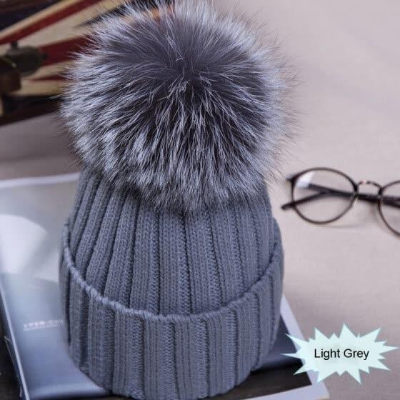 Newest Large Ball Womens Hat Winter Warm Fox 15cm Fur Pom Knit Berets Ski  Casual Pop b798cd1f96a6