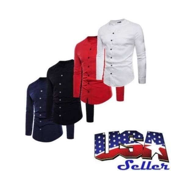 US Fashion Men Solid Full Button Collarless Casual Shirts Slim Long Sleeve Shirt