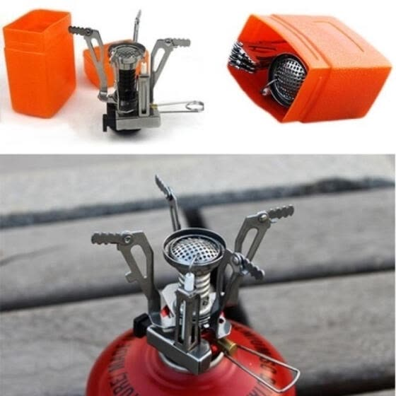 Portable Mini Outdoor Camping Accessory Steel Gas Burner Stove for Outdoor Picnic + Case
