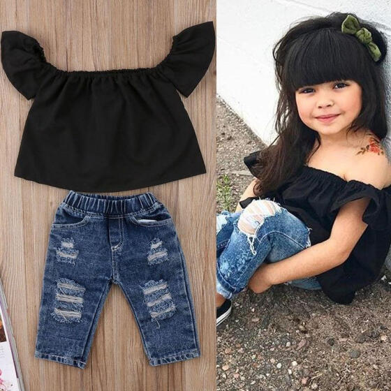 2PCS Toddler Kids Baby Girls Off Shoulder Tops+Jeans Pants Outfits Clothing Set