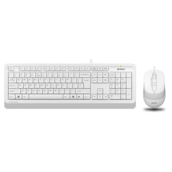 Shuangfeiyan (A4TECH) F1010 ultra-thin fashion keyboard and mouse wired set office home laptop keyboard mouse suit ivory white
