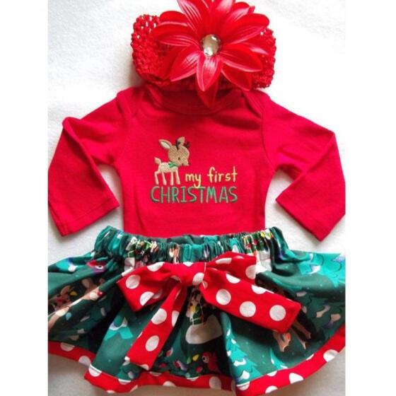 Christmas Newborn Infant Baby Girl Red Skirt Romper Tops+Tutu Skirts Outfits Set