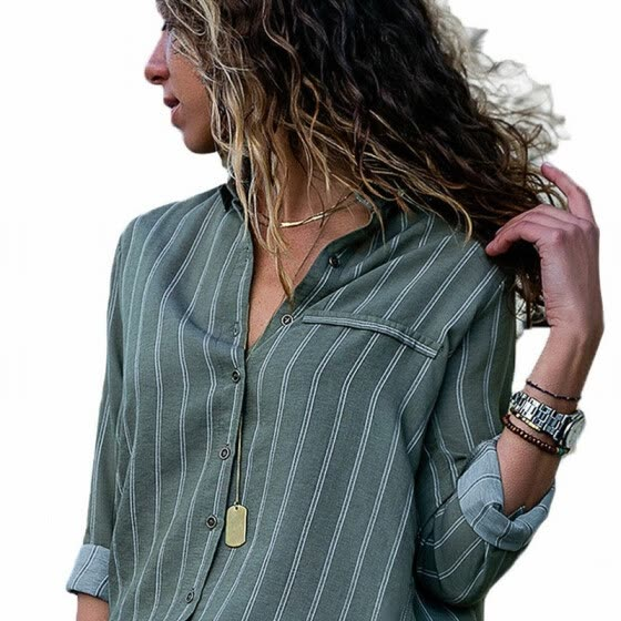 Olive Green Striped Suit Collar Long Sleeve Casual Loose Shirt Top