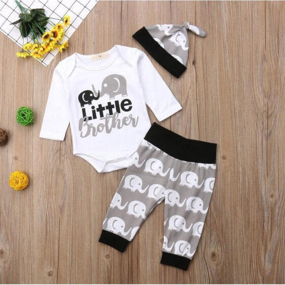 UK Newborn Baby Boy Little Brother Tops Romper Elephant Pants Hat Outfit Clothes