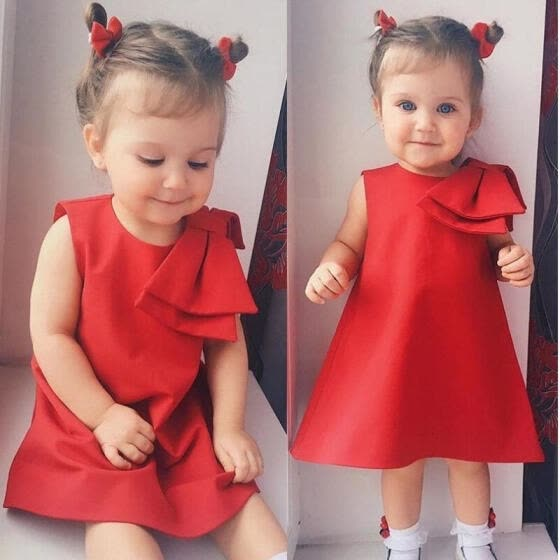 Red Flower Girls Princess Dress Kids Baby Party Wedding Pageant Lace Dresses