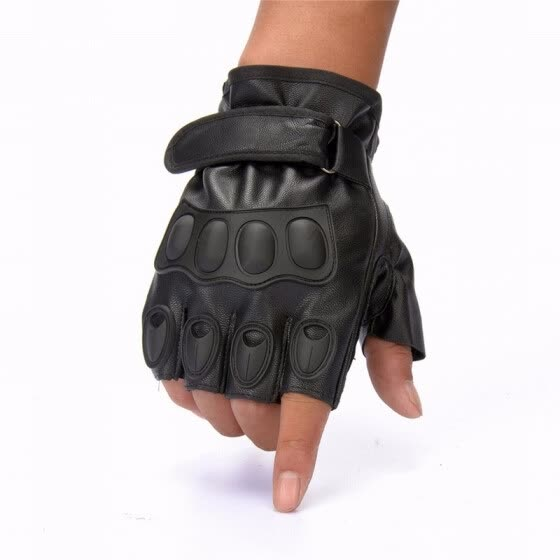 Mens Black Faux leather Fingerless Gloves for Military Motorcycle Riding