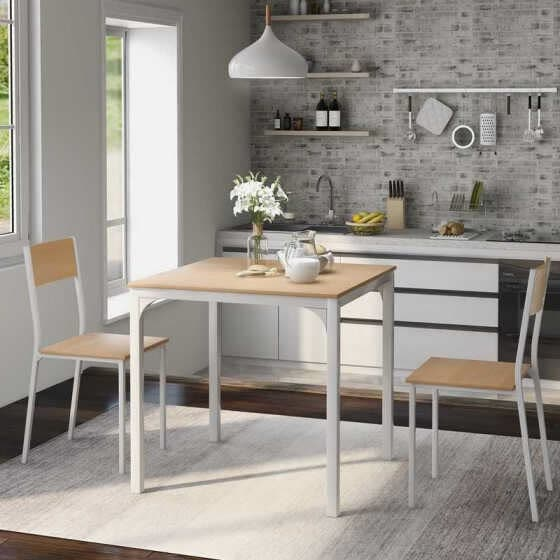 Dining Table and 2 Chairs Wooden Steel Frame Kitchen Dining Table Set (Natural)