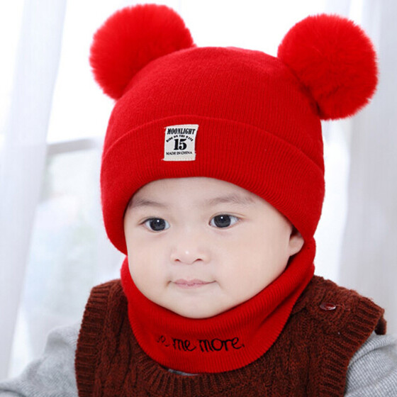 Newborn Kids Baby Boy Girl Pom Hat Winter Warm Knit Bobble Beanie Cap Scarf Sets