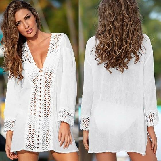 05043ed9300 Women Summer Lace Crochet Bikini Cover Up Swimwear Bathing Suit Beach Dress  Tops