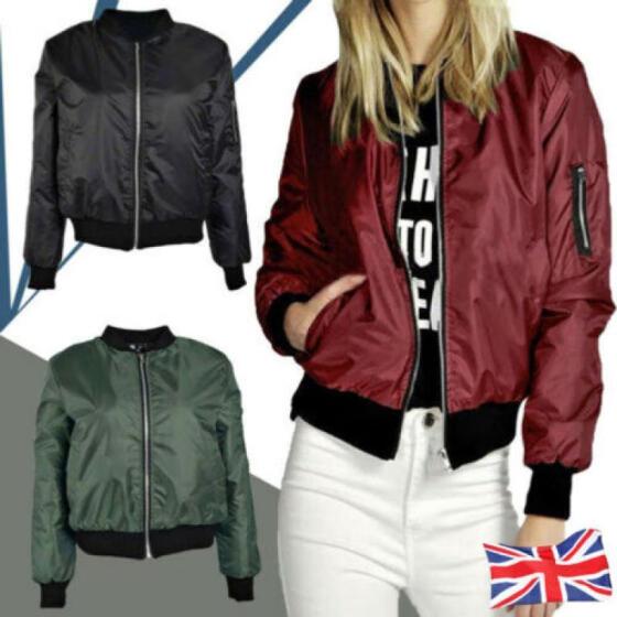 Womens Classic Casual Bomber Jacket Vintage Zip Up Biker Outwear Coats Beauty UK