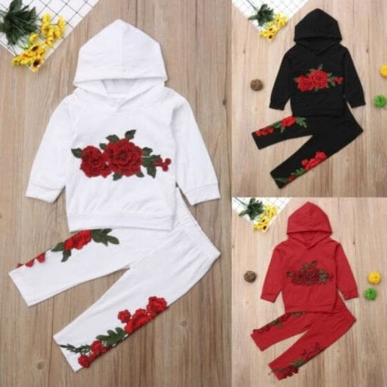 Embroidery Toddler Kids Baby Girl Hooded Top Long Pants Outfit Clothes Tracksuit