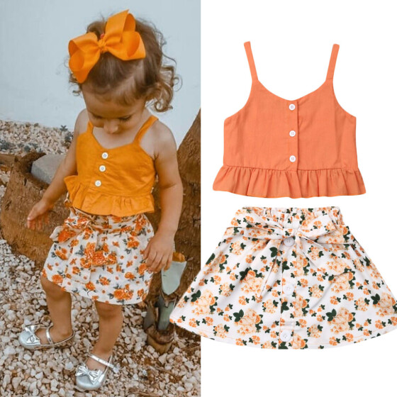 Toddler Kids Baby Girls Dress Ruffle Sleeve Floral Skirt Summer Clothes Outfit