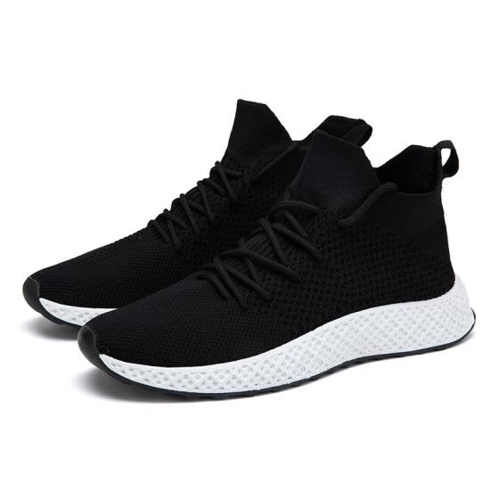 Selling high-top men's shoes flying woven socks shoes men's Korean version of the trend hip hop shoes fashion white breathable cas