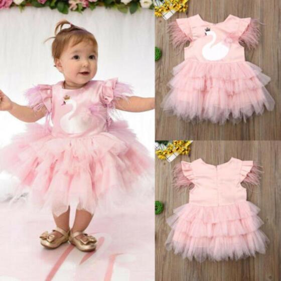 UK Canis Baby Kids Girls Dress Toddler Princess Party Pageant Floral Tutu Dress