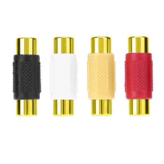 4pcs Gold-plated RCA Female to RCA Female Connector AV Plug Jack Adapter