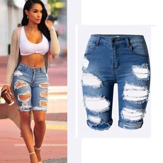 Womens Ladies High Waist Ripped Hole Washed Distressed Short Jeans Size S-3XL