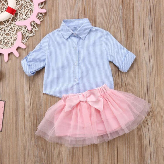 2pcs Toddler Kids Baby Girls T-shirt Tops+Tulle Tutu Skirt Dress Clothes Set