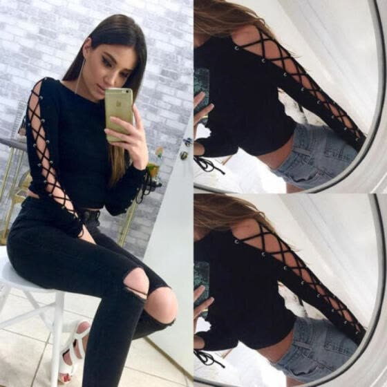 Women Slim Fit Lace Up Long Sleeve Shirt  Blouse Casual Cotton Knitted Crop Tops