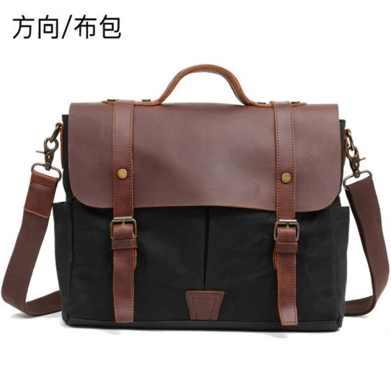 Manufacturers wholesale oil wax canvas men's portable Messenger men's official computer bag Europe and the United States retro shoulder bag men's bag