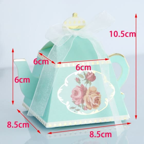 FUNNYBUNNY Mini Teapot Shape Wedding Favors Candy Boxes Gift Box Party Favor Boxes with Ribbons for Wedding, Party Decorations