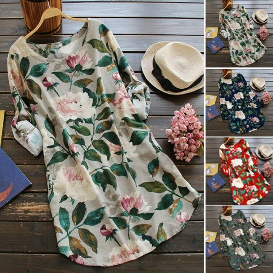 2019 Summer Womens Floral Tops Blouse Ladies Long Sleeve T-Shirt Plus Size 6-22