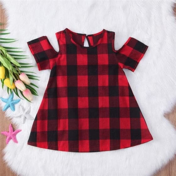 2018 NEW Baby Girls Tartan Dresses Knee-Length Off Shoulder Cotton Casual Pageant Party