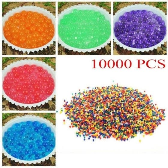 10000pcs/Bag 9-11mm Colorful Orbeez Soft Crystal Water Paintball Nerf Gun Bullet Grow Water Beads Grow Balls Water Gun Toys