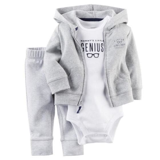 Casual Newborn 6 9 12 18 Months Cardigan Pant Set Jumpsuit Romper Bodysuit Baby Boy Clothes Outfit Gray