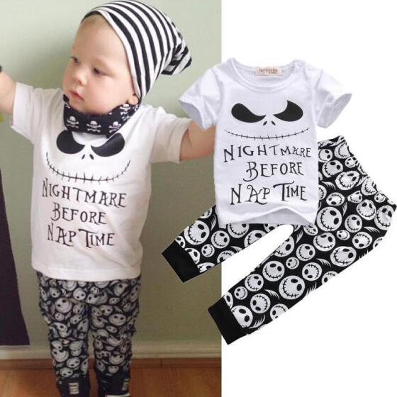 UK Toddler Kids Baby Boys Tee T-shirt Skull Print Pants 2Pcs Outfit Clothes Set
